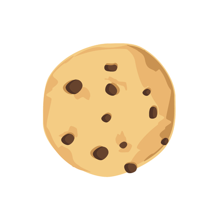 Raster illustration chocolate chip cookie. Freshly baked choco cookie icon Stock Photo