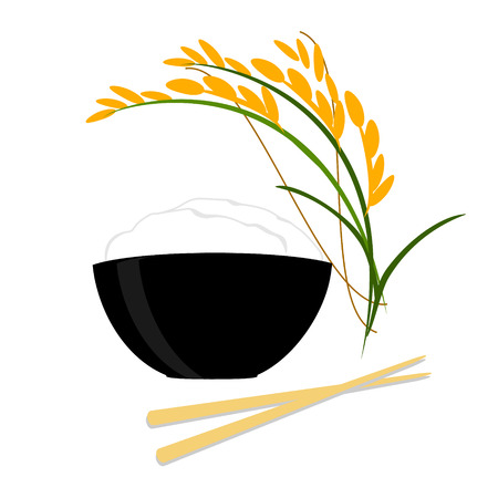 Raster illustration leaves and spikelets of rice and black bowl full of white long rice on a white background.