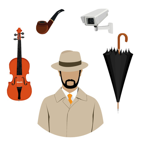 Raster illustration detective, spy avatar icon. Detective character with equipment. Investigator in hat, overcoat.
