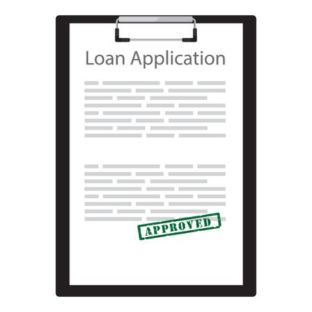 Raster illustratie lening aanvraag met groene rubber stempel goedgekeurd. Contract overeenkomst.