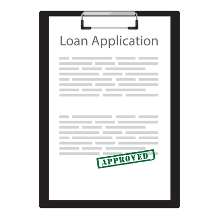 Raster ilustración solicitud de préstamo con sello de goma verde aprobado. Acuerdo de contrato. Foto de archivo - 81230917
