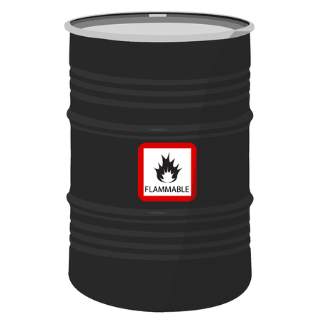 chemical material: Raster illustration metal black barrel with sign flammable.