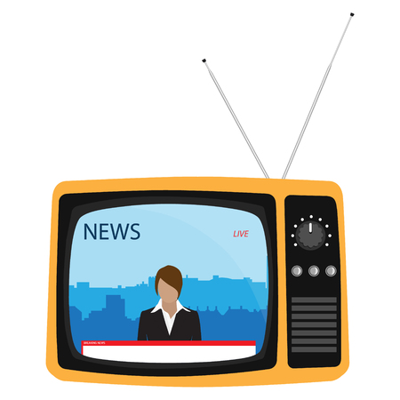 Media on television concept. Breaking news. TV News with woman newsreader or journalist concept background