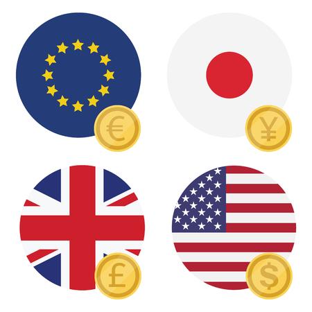 Vector Illustration World Currency Symbols Icon Set Money Sign
