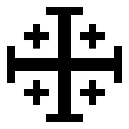 Vector illustration black Jerusalem cross. Cross of Knightly Order of the Holy Sepulchre of Jerusalem