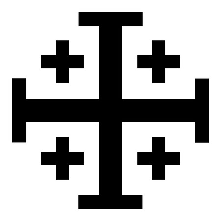 Vector illustration black Jerusalem cross. Cross of Knightly Order of the Holy Sepulchre of Jerusalem