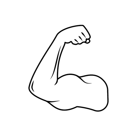 The Vector Black And White Image With A Biceps Of The Strong