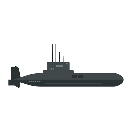 Vector illustration military submarine icon.  Army sea ship transport