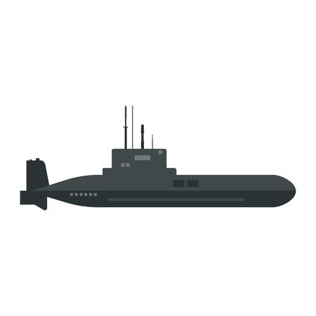 Vector illustration military submarine icon.  Army sea ship transport