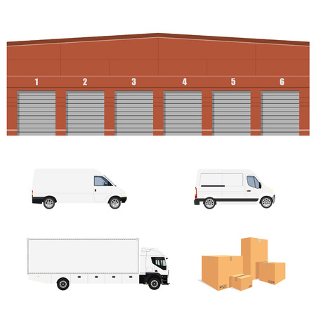 heap: Vector illustration warehouse cargo delivery with six doors. Storage building. Cargo truck, two minivan and  pile of cardboard boxes.Delivery transport set, collection. Delivery service icon.