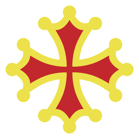 Vector illustration golden and red occitan cross sign, symbols  or icon. Çizim