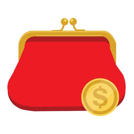 Illustration vectorielle doré dollar et porte-monnaie rétro rouge. Dollars tombant dans un sac ouvert. Concept d'économie d'argent. Banque d'images - 81378868