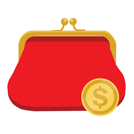 Vector illustration golden dollar coin and red retro purse. Dollars dropping in open purse. Saving money concept. Illustration