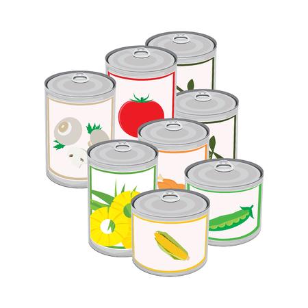 Ilustración vectorial conjunto de alimentos enlatados