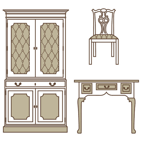 Raster illustration set, collection of vintage furniture icons. Antique, retro furniture. 18th century style interior. Stock Photo