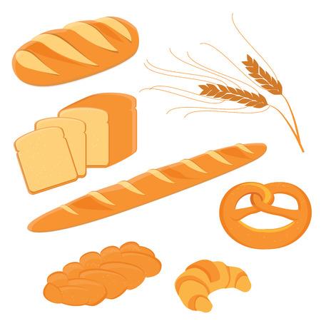 Brood, varkensstaartbrood, pretzel, toostbrood, croissant en Franse baguetteerroosterillustratie. Verschillende soorten broodrooster pictogram. Korenaren Stockfoto