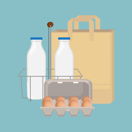 Raster illustration two bottles of milk, paper bag and box with brown chicken eggs. Traditional breakfast food. Stock Photo