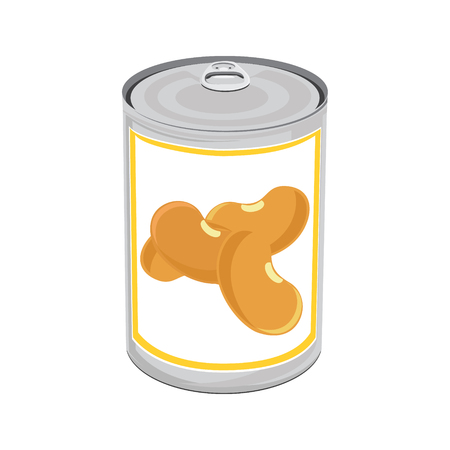 aluminum: Raster illustration aluminum can with beans. Canned food. Metal tin can icon isolated on white. Stock Photo