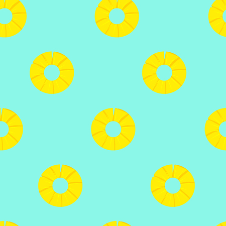 Raster illustration  pattern, background with pineapple slices. Summer fruits
