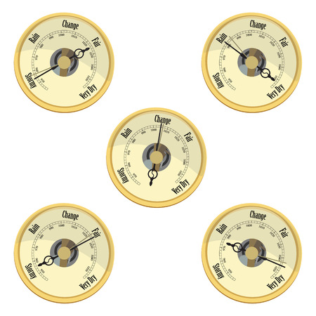 atmospheric pressure: Raster illustration golden aneroid barometer isolated on white background. Barometer indicates rain and stormy, fair and very dry, change. Stock Photo