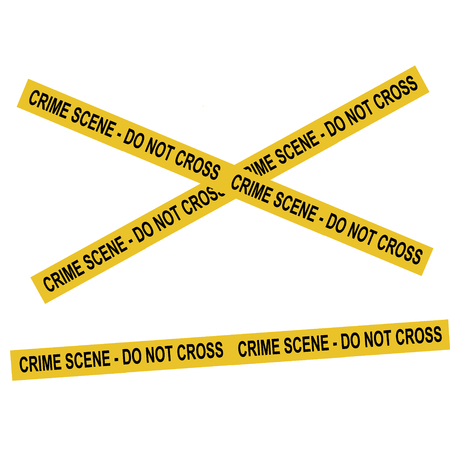 Raster illustration yellow police crime scene danger tape. Do not cross