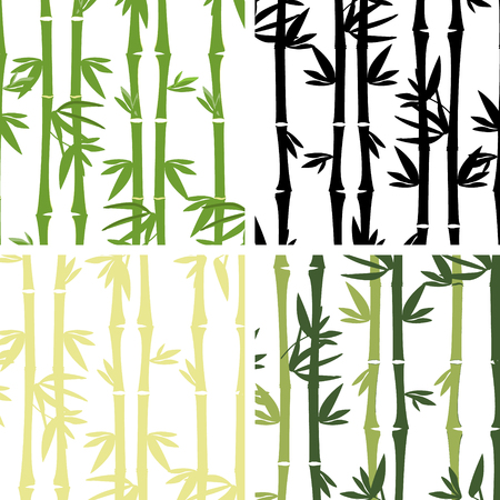 japanese garden: Raster illustration collection of four seamless bamboo pattern. Bamboo tree , leaves, branches