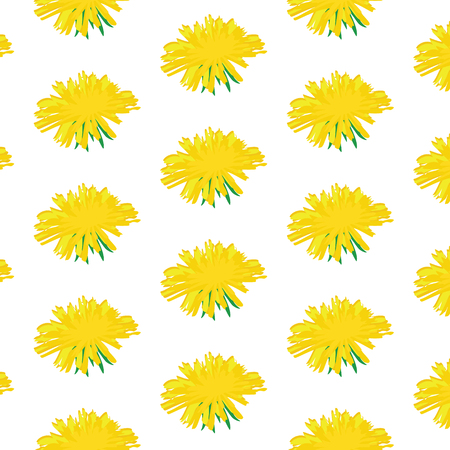 Raster illustration decorative  pattern with dandelions. Nature floral background.