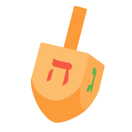 Raster illustration of Hanukkah dreidel, and its letters of the Hebrew alphabet. Chanukah dreidel icon. Jewish, hebrew toy