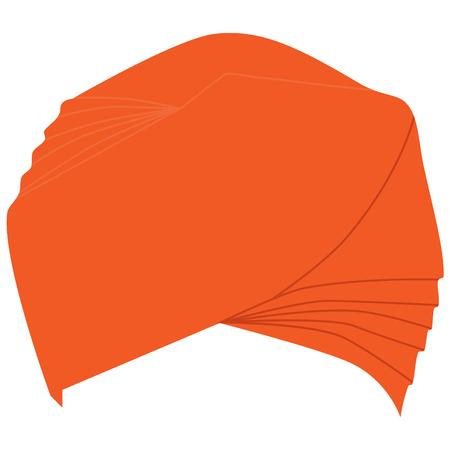 sikh: Raster illustration orange turban headdress isolated on white background. Sikh turban icon.