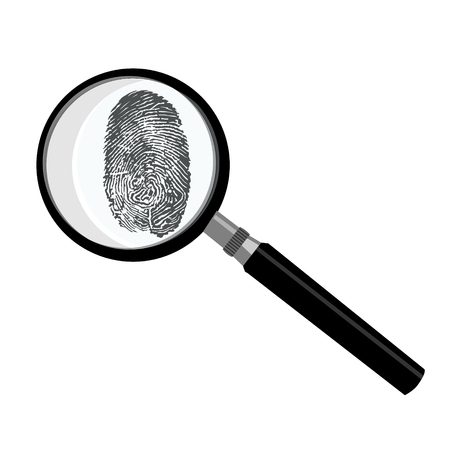 Black fingerprint through magnifying glass raster illustration. Criminalistic research