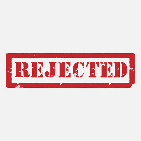 rejected: Red rubber stamp with text rejected raster isolated, rejected stamp. Stock Photo