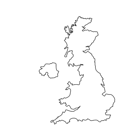 Raster illustration uk map outline drawing. England map line icon. United Kingdom of Great Britain. Uk map counties