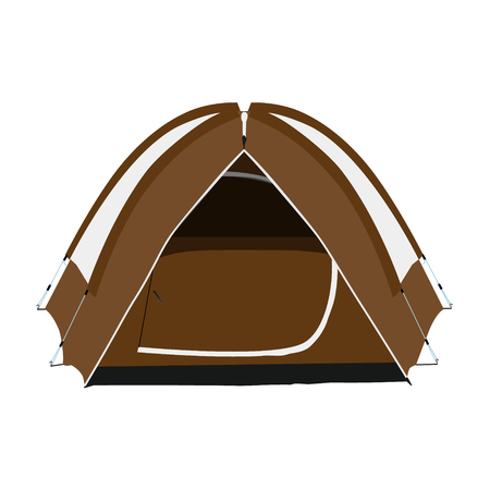 Raster illustration brown camping tent isolated on white background