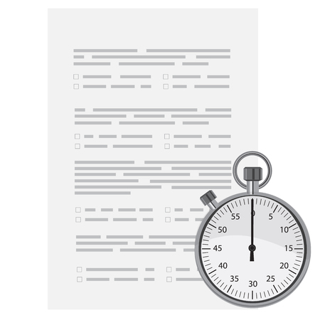 unchecked: Raster illustration test, exam paper with timer.  Exam, or survey concept icon. School test. School exam.