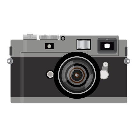 capturing: Raster illustration camera icon isolated on white background. Retro or vintage photo camera in a flat style. Snapshot Stock Photo