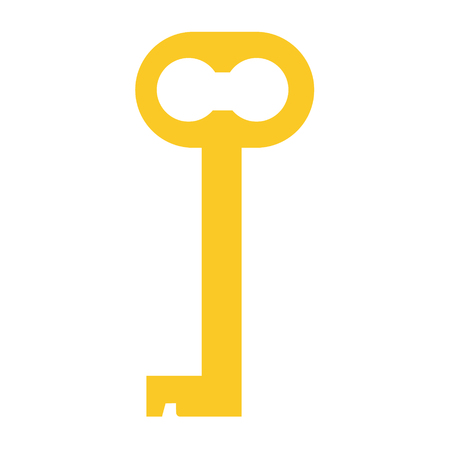 Raster illustration of golden old key silhouette. Vintage key icon. Ornamental, medieval, ancient key Stock Photo