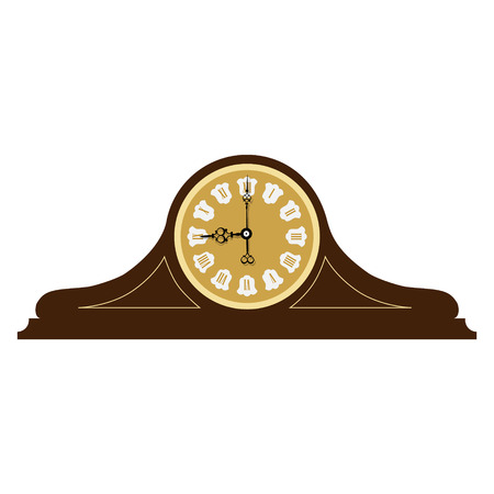 Brown wooden old clock with roman numerals raster illustration. Vintage desk clock. Table clock