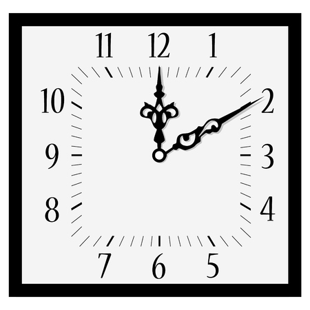o'clock: Raster illustration office square clock. Classic black and white  wall clock isolated on white. Clock on wall shows ten  minutes past one oclock