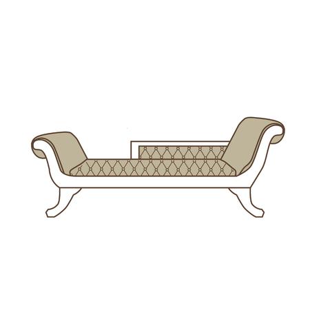 18th century style: Raster illustration vintage sofa, divan or couch icon. Classic elegant furniture. Antique, retro furniture. 18th century style interior. Stock Photo