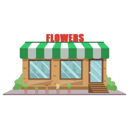 Raster illustration cartoon flower shop front facade icon. Flower store exterior. Stock fotó