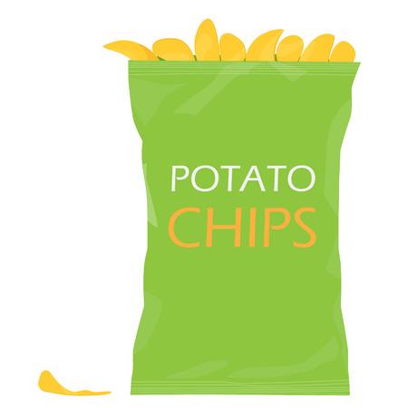 Raster illustraton green pack with potato chips. Chips bag