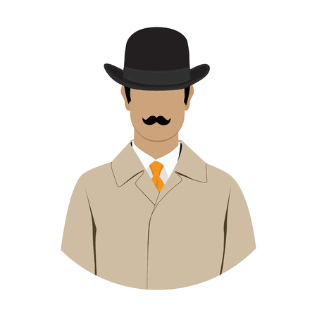 Raster illustration detective, spy avatar icon. Detective character. Investigator in hat, overcoat.