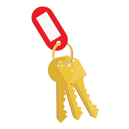 lock symbol: Raster illustration blank red tag and golden keys. Bunch of keys with keychain isolated on white background