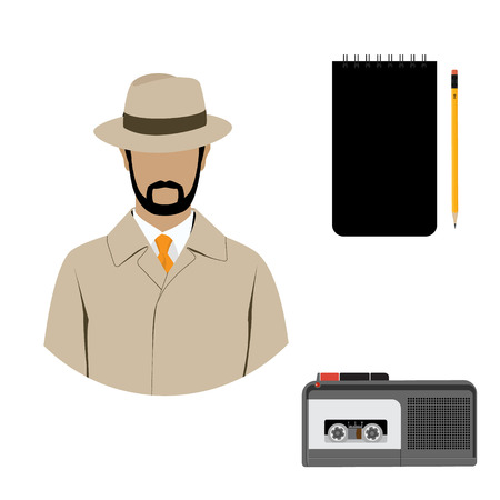 investigating: Raster illustration detective interrogation concept notepad with pencil and dictaphone. Detective equipment icon set, collection