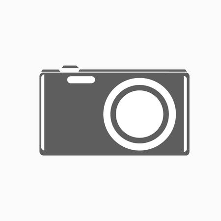 capturing: Raster illustration camera icon. Retro or vintage photo camera in a flat style. Snapshot