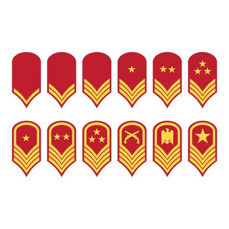 Raster illustration epaulets, military ranks and insignia isolated on white background. Stok Fotoğraf