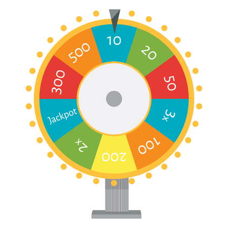 Raster illustration wheel of fortune. Lucky spin icon in flat style.