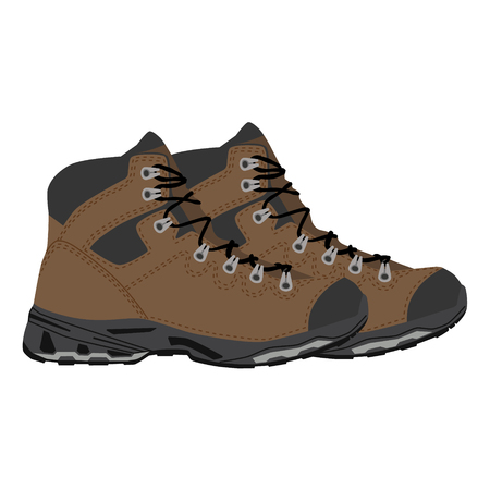 Raster illustration pair of hiking boots icon. Mountain shoes