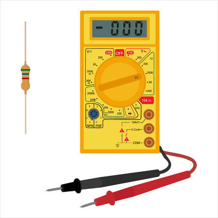 Raster illustration digital electric multimeter and resistor, transistor icon. Electrical measuring instrument. Voltage