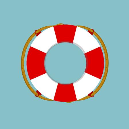 Raster illustration lifebuoy isolated on blue background. Life ring, life preserver, life buoy icon flat design Stock Photo